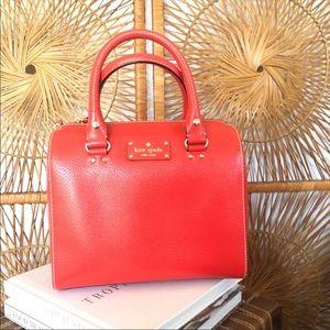 KATE SPADE Wellesley Alessa Leather Handbag in Red
